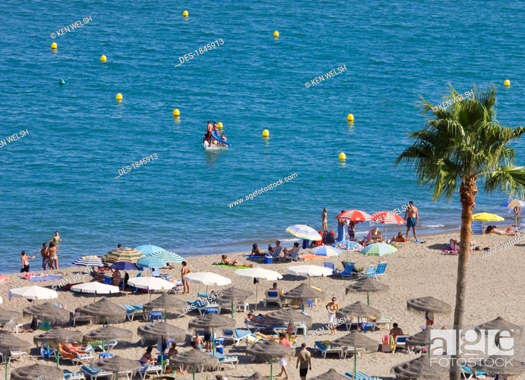 Stock Photo: La Carihuela beach, Torremolinos, Costa del Sol, Malaga Province, Spain.