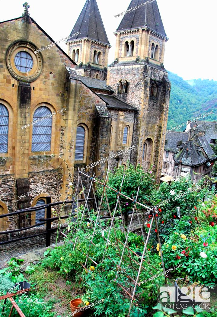 Stock Photo: Aveyron, Midi-Pyrenees, Conques, abbey-church with Soulages stained-glass windows.