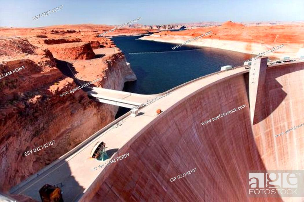 Stock Photo: Glen Canyon Dam Lake Powell Arizona.