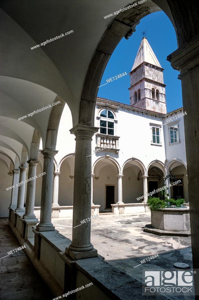 Stock Photo: Interior of a cloister, Piran, Slovenia, Europe.