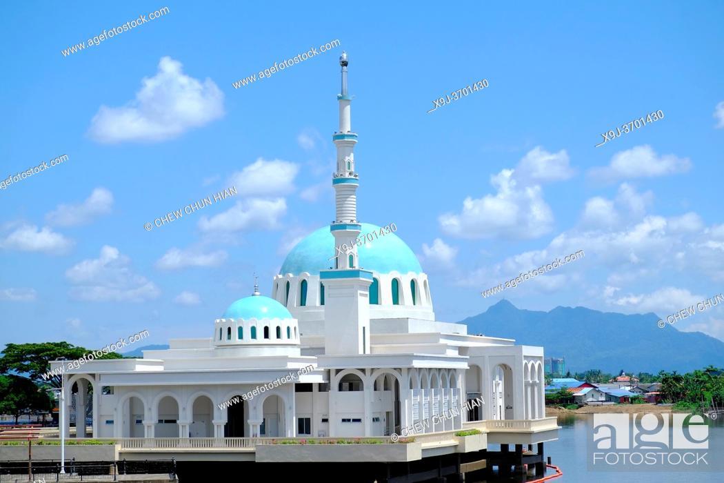 Stock Photo: India mosque, Floating mosque at sarawak river kuching city, kuching, sarawak, malaysia.