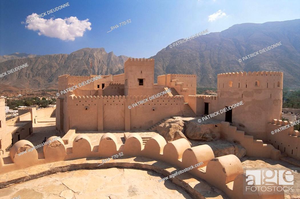 Stock Photo: Nakhl fort, Batinah region, western Hajar, Oman, Middle East.