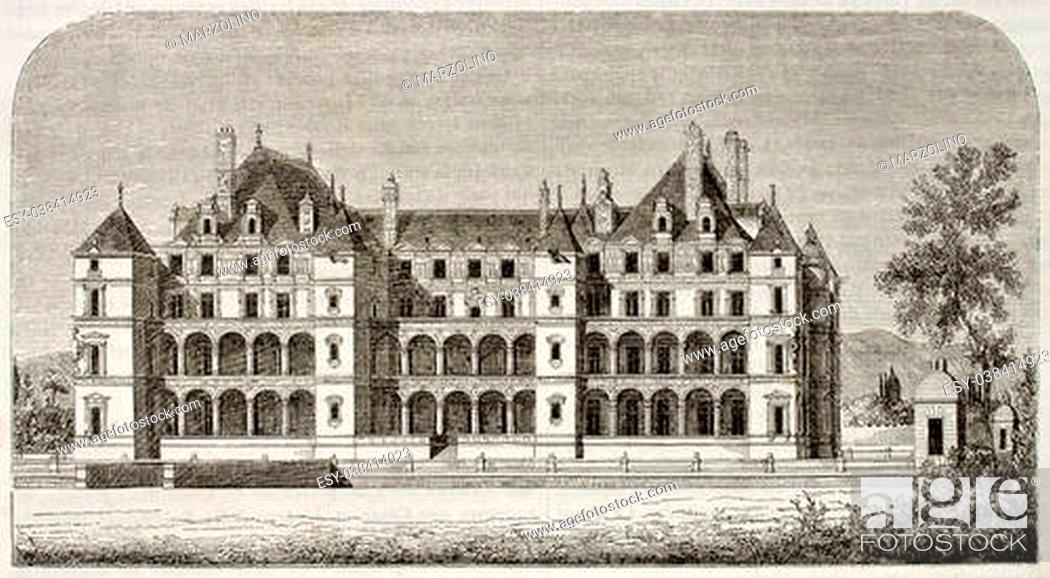 Stock Photo: Chateau de Madrid old view, Bois de Boulogne, Paris surroundings (demolished at the end of 18th century). By unidentified author.