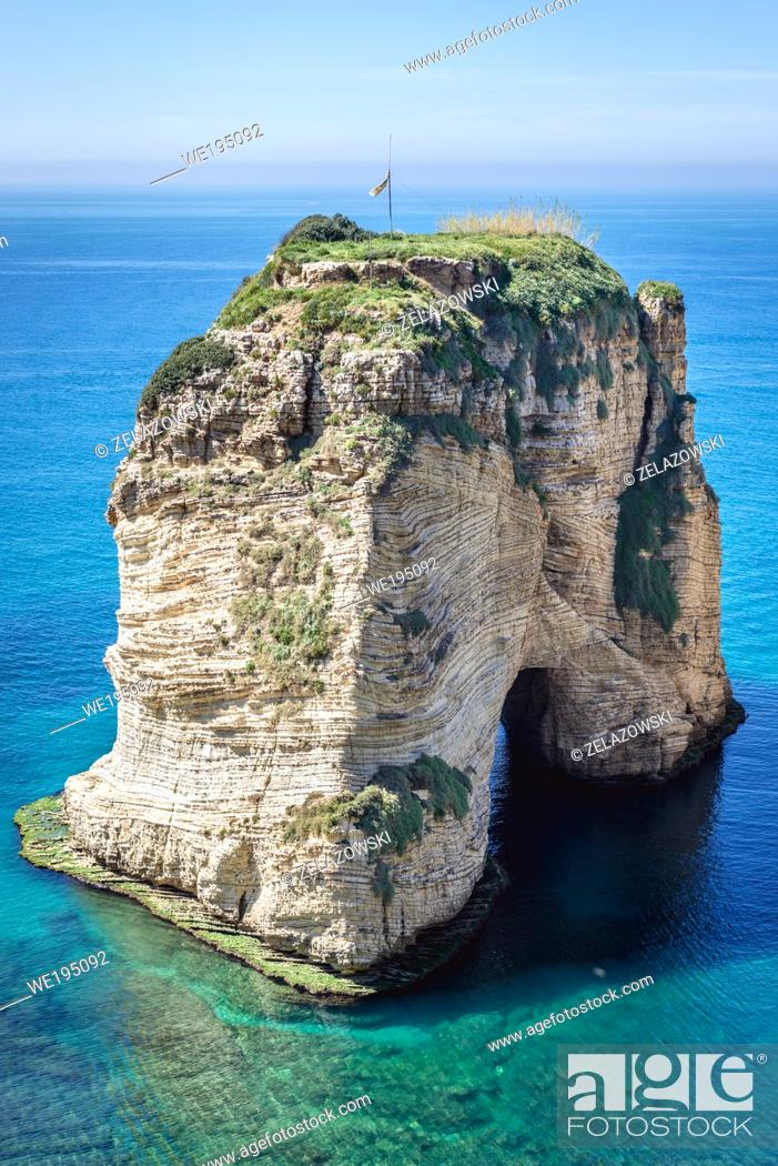 Stock Photo: Pigeon Rock in Raouche area of Beirut, Lebanon.