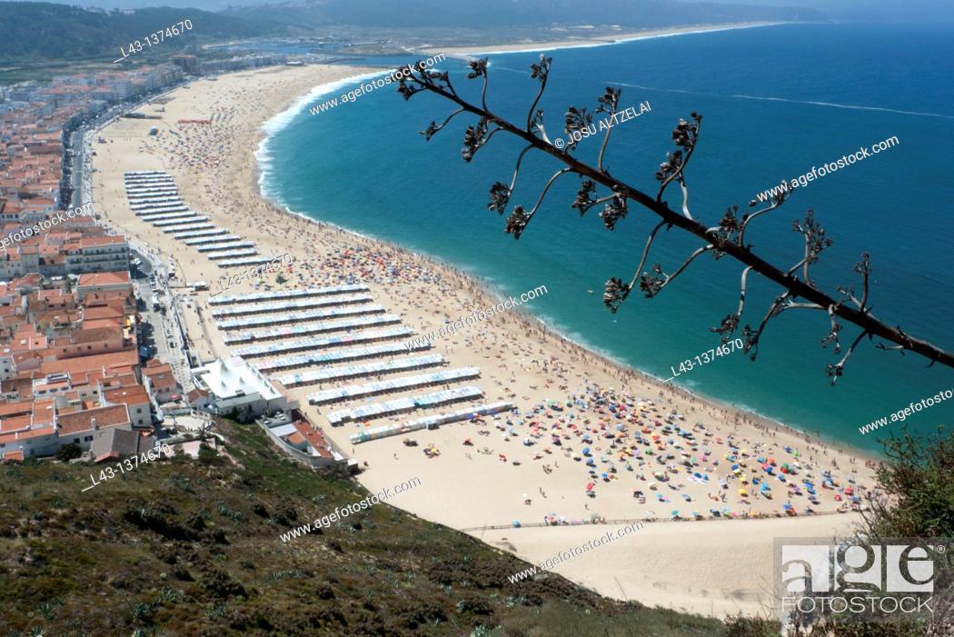 Stock Photo: Panoramic view of Nazare,prata coast, portugal.