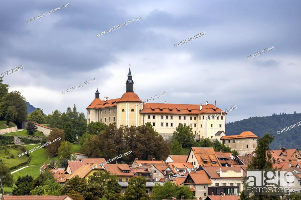 Stock Photo: Skofja Loka castle and town in Slovenia.