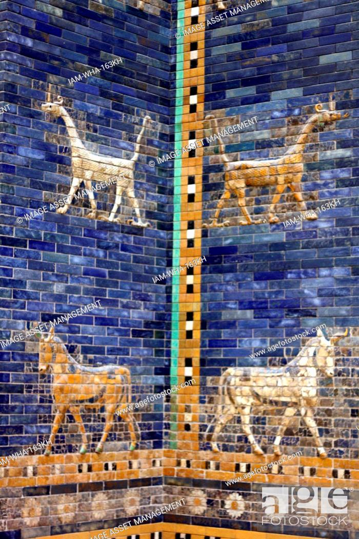 Stock Photo: Ishtar Gates, Babylon plus details showing palms, lions and animals.