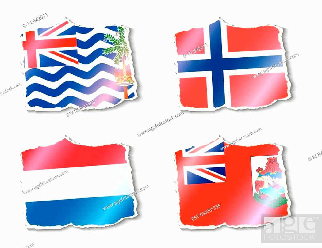 Stock Vector: set of flags, vector illustration.