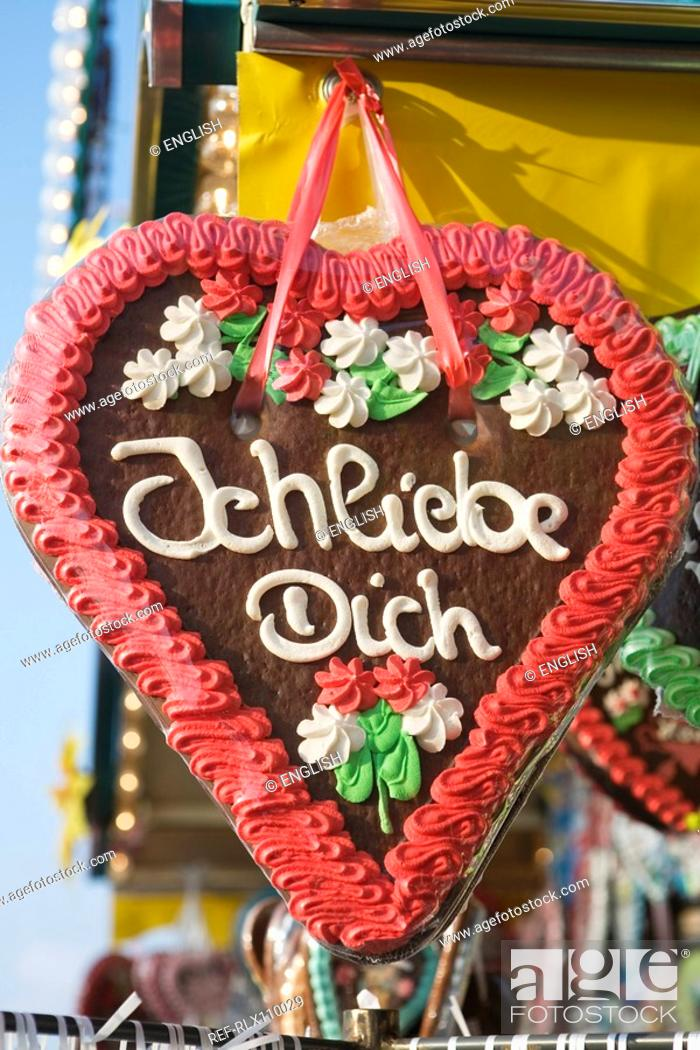Stock Photo: Red Gingerbread heart with I love You, at Oktoberfest, Munich, Germany.