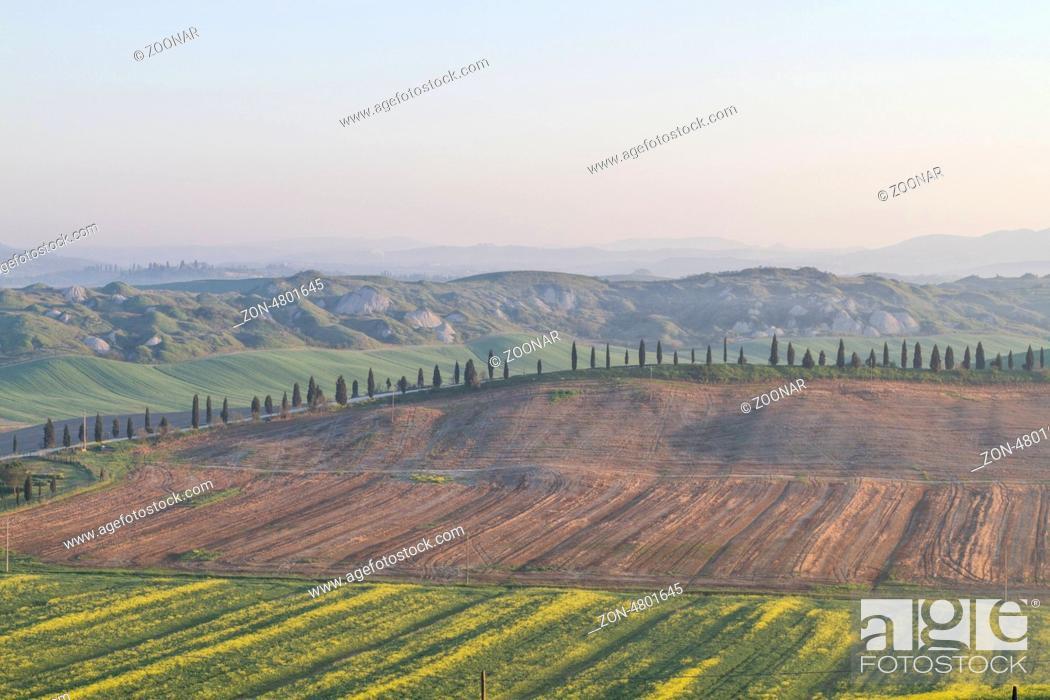 Stock Photo: spring morning in Tuscany.