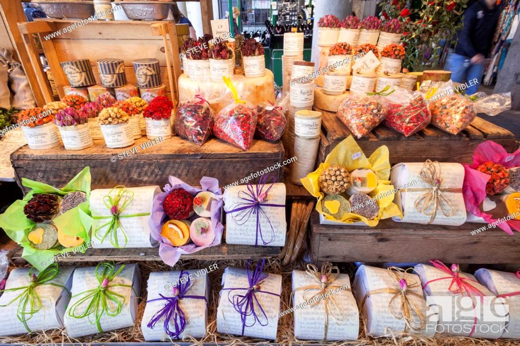 England London Covent Garden Market Stall Display Of Soap And Potpourri Stock Photo Picture And Rights Managed Image Pic Mba 04912621 Agefotostock
