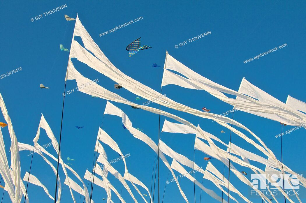 Stock Photo: Flying Kites in the sky, autumn festival, Dieppe, 76, Normandy, France.