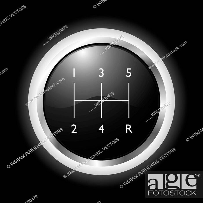 Stock Vector: Black and silver gear shift knob with black background.