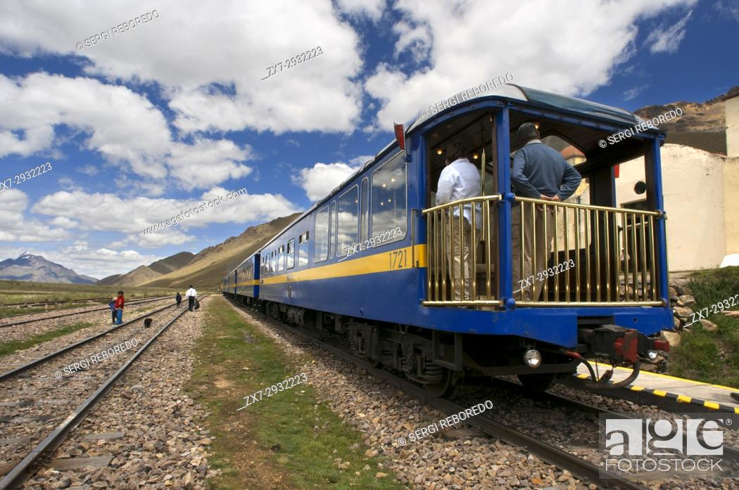 Stock Photo: La Raya pass, Puno, Peru. Andean Explorer, luxury train from Cusco to Puno. In half the distance the train makes a stop along the way at a place called La Raya.