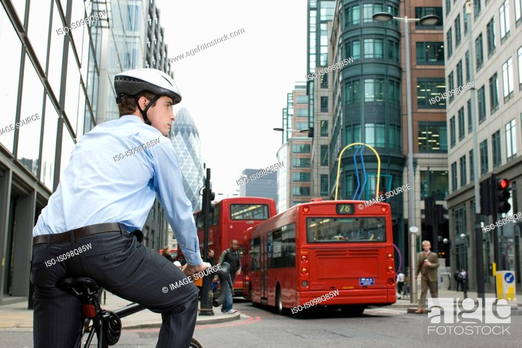 Stock Photo: Cyclist in city.