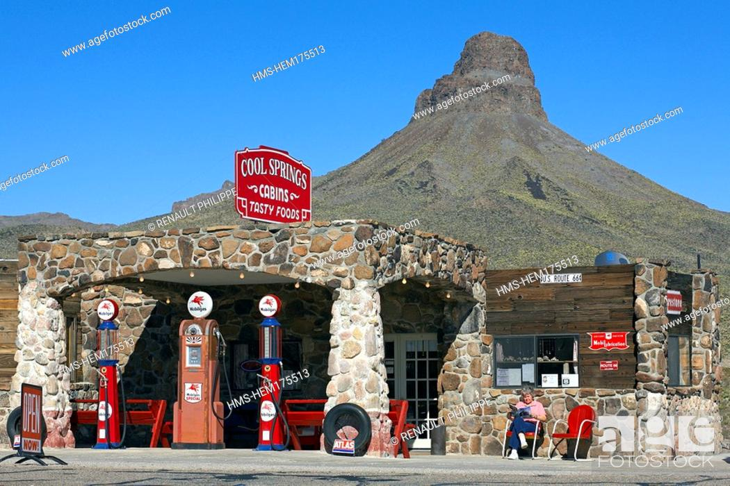 Stock Photo: United States, Arizona, Route 66, Kingman, Cool Springs shop, Betsy Miller, the owner sitting.