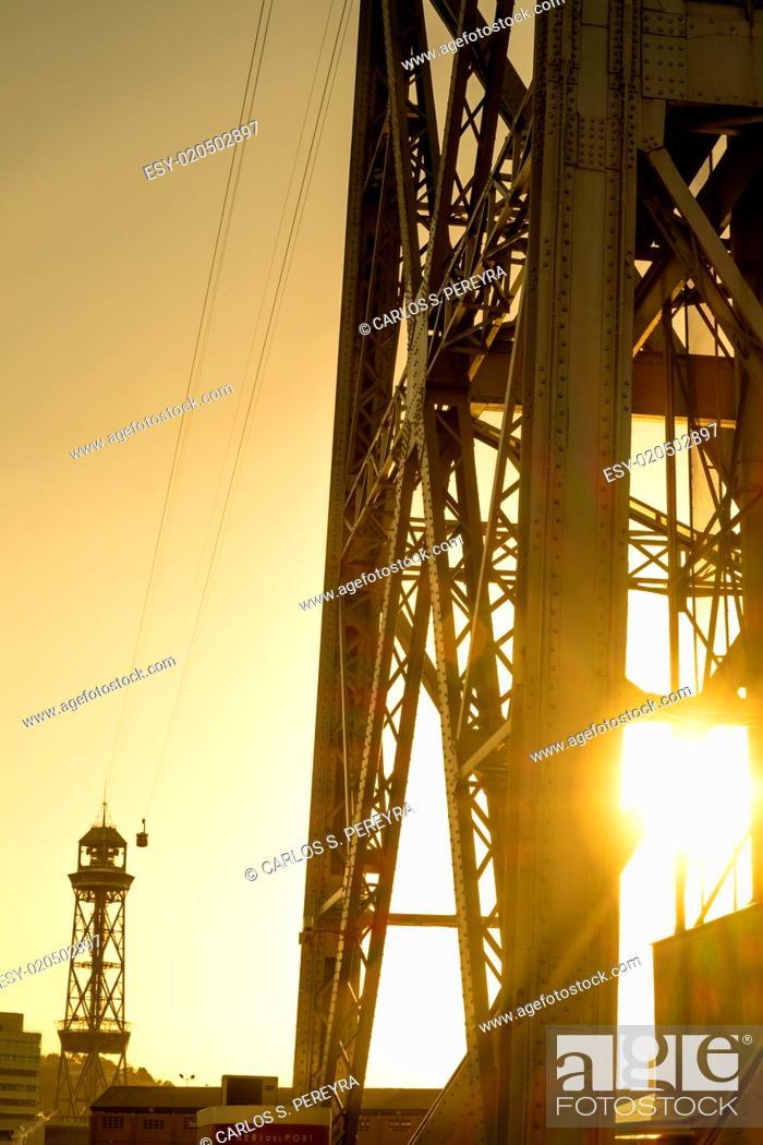 Stock Photo: Tower of Sant Sebastian at Barceloneta, Barcelona, Catalonia, Spain.