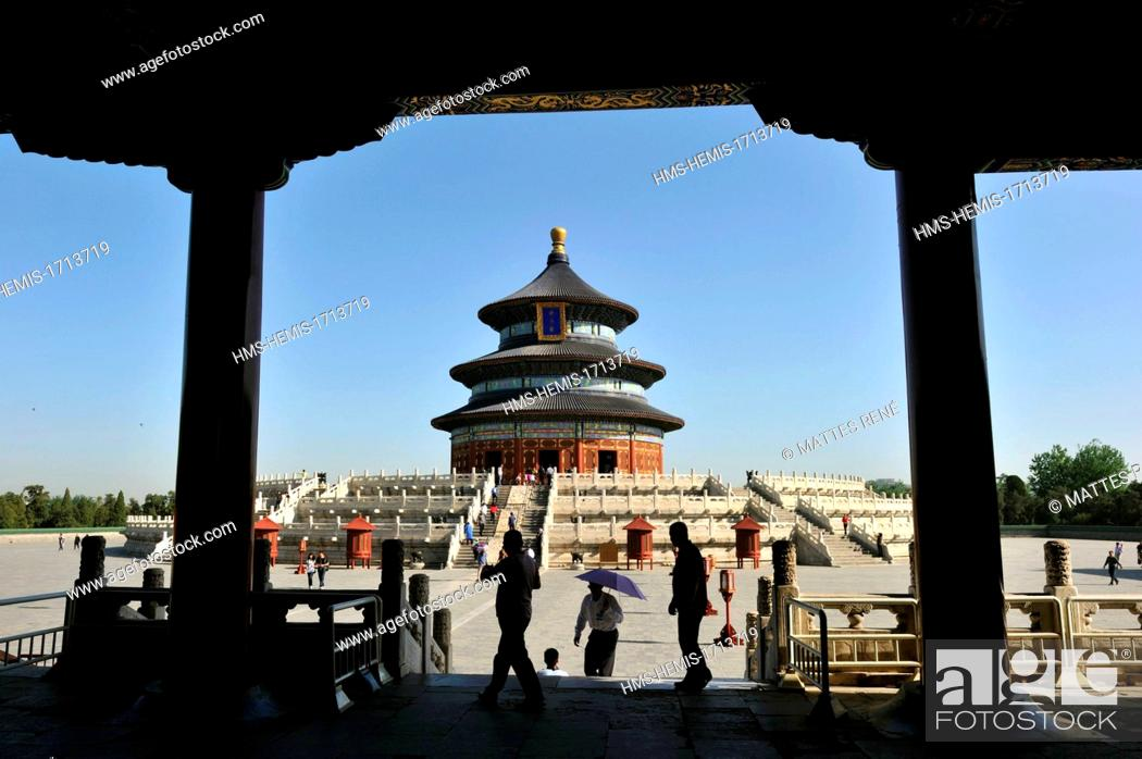 Stock Photo: China, Beijing, Chongwen district, Temple of Heaven (Tian Tan) listed as World Heritage by UNESCO, hall of prayer for good harvest.