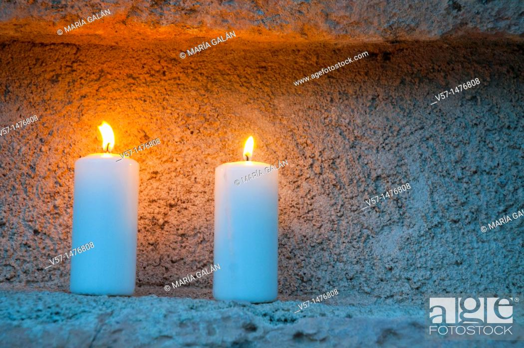 Stock Photo: Two lit candles. Concierto de las Velas, Pedraza, Segovia province, Castilla León, Spain.