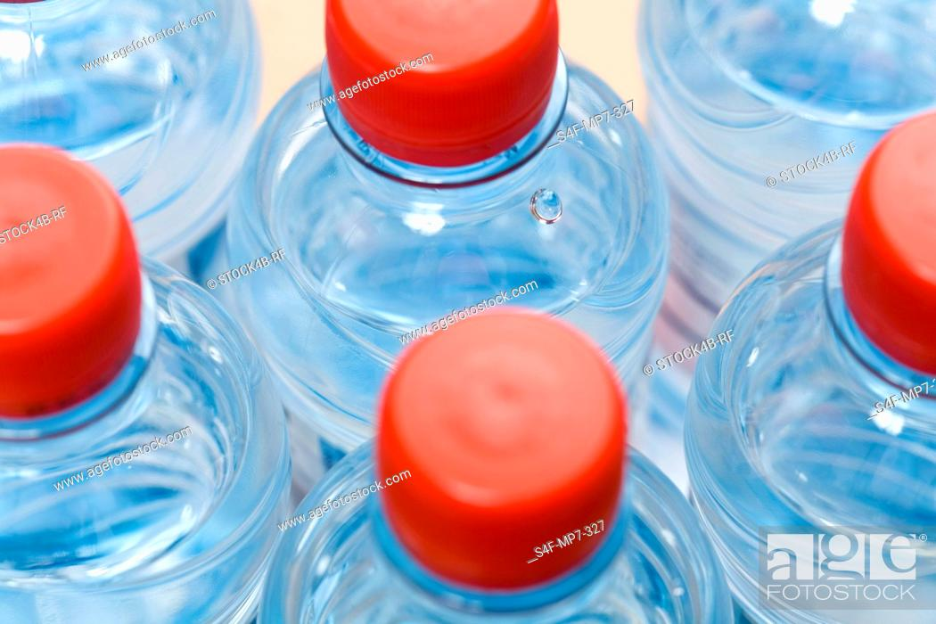 Stock Photo: Detail of water bottles.