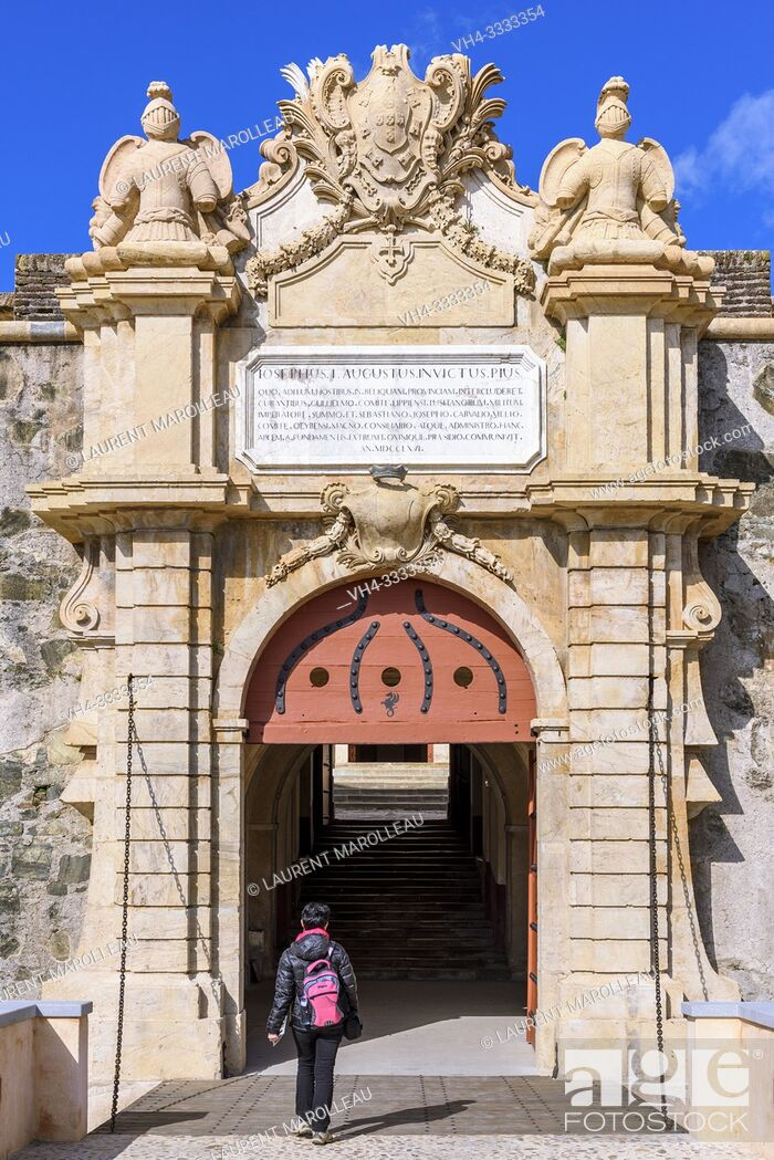 Stock Photo: Main gate with royal coat of arms, Fort of Graca, Garrison Border Town of Elvas and its Fortifications, Portalegre District, Alentejo Region, Portugal, Europe.