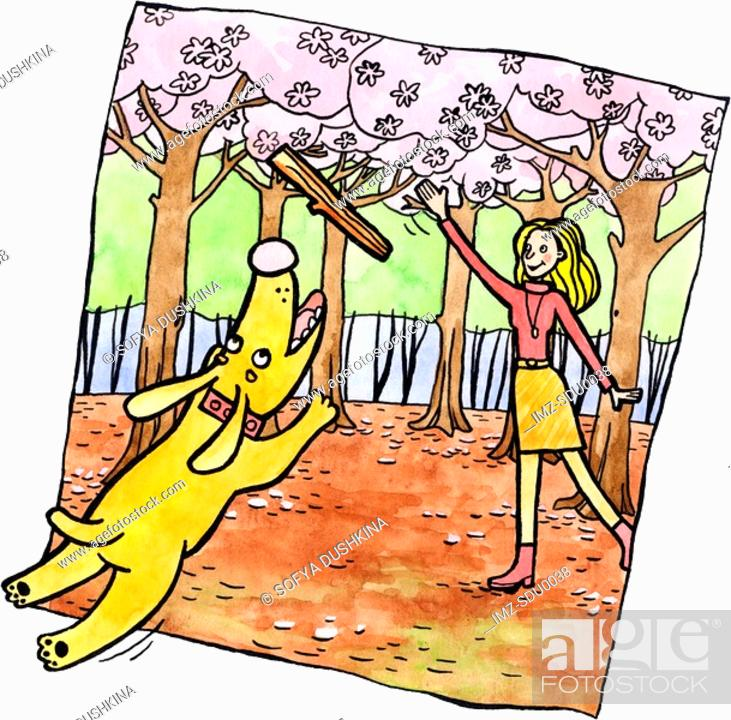Stock Photo: A woman playing fetch with her dog under blossom trees.