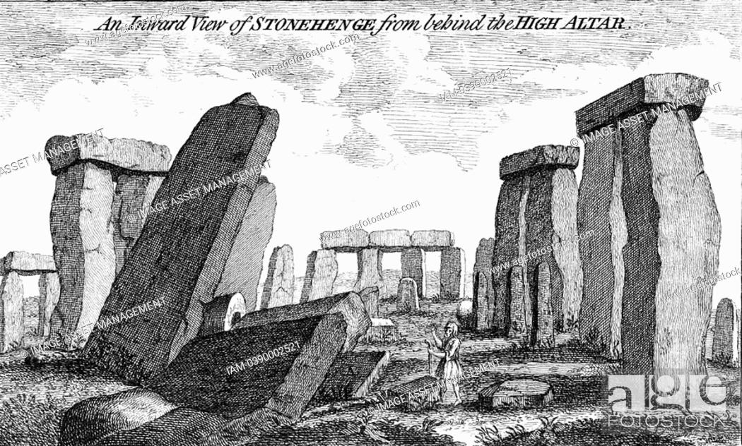 Stock Photo: Stonehenge  Megalithic monument on Salisbury Plain, England, dating from c2000 BC  Copperplate engraving 1760.