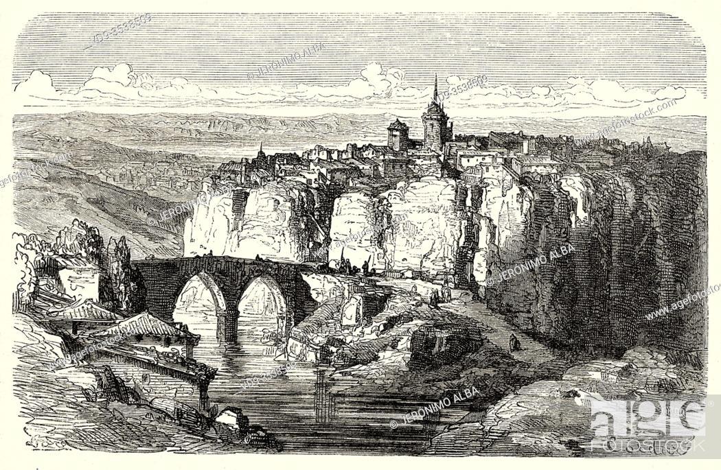 Imagen: Panoramic landscape view of San Pablo bridge and the city Cuenca, Castilla La Mancha. Spain, Europe. Old 19th century engraved illustration.