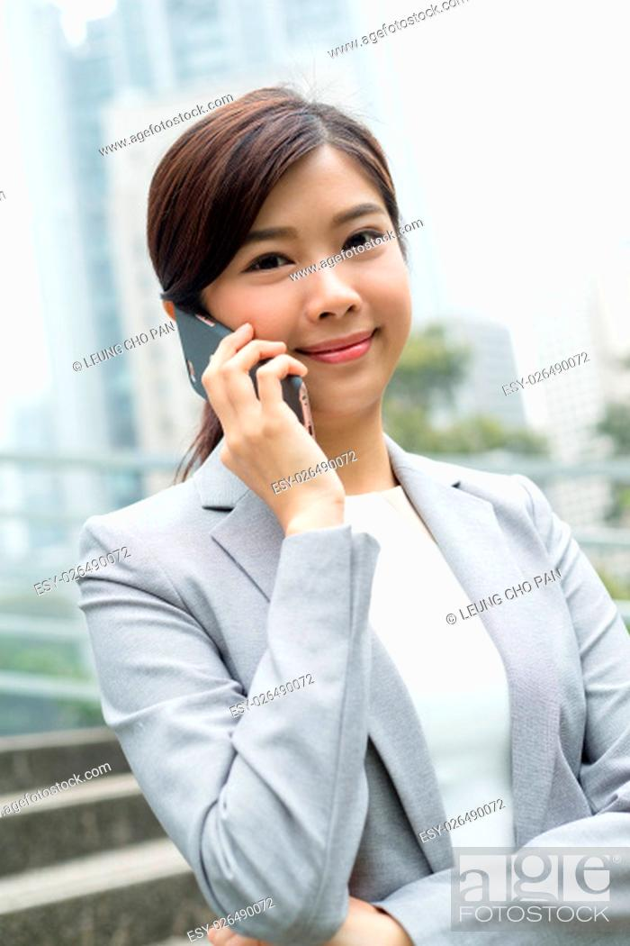 Stock Photo: Business woman talk to mobile phone.