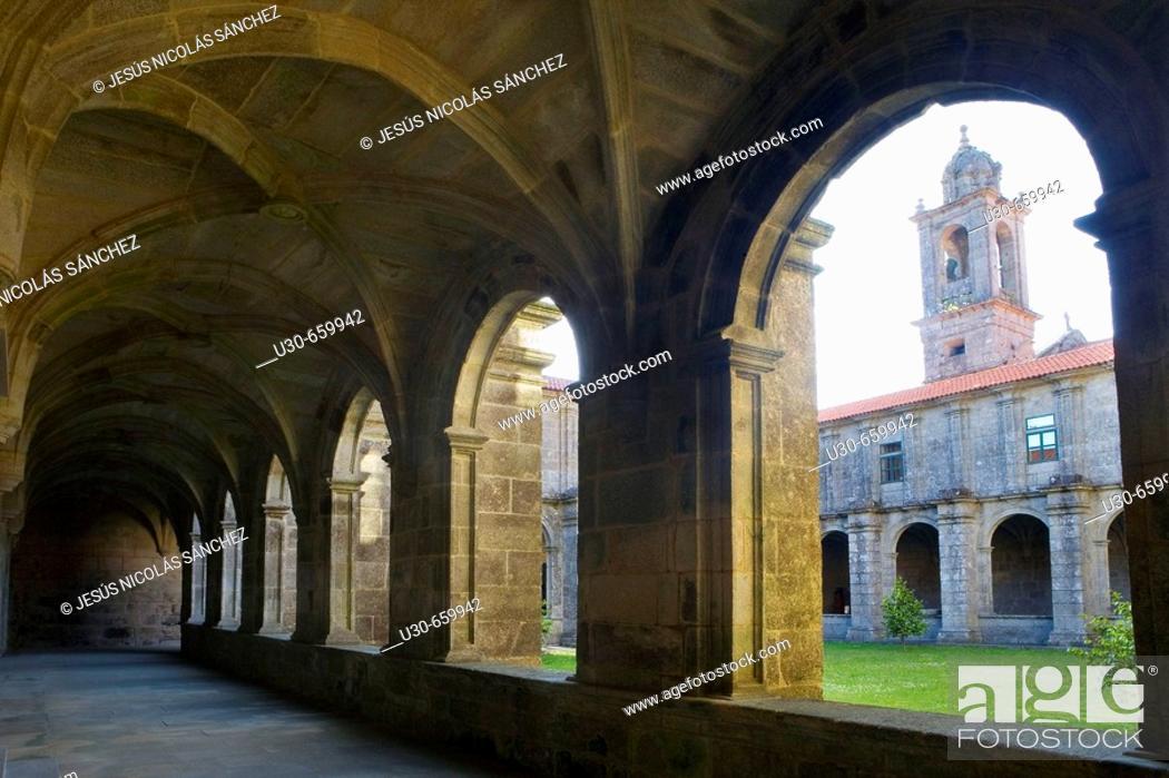 Stock Photo: Monastery of Armenteira. Meis, Pontevedra province, Galicia, Spain.