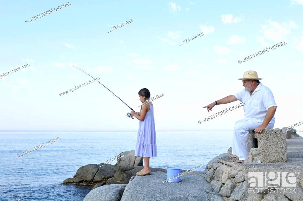Stock Photo: morning fishing with grandpa.