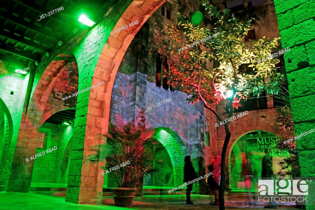 Stock Photo: Lighted arches, Palau Reial Major, Museu Frederic Mares, Barcelona, Catalonia, Spain.