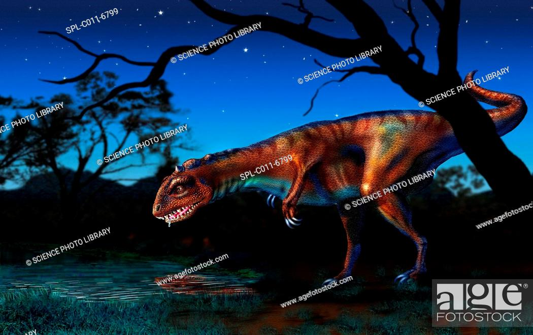 Stock Photo: Majungatholus. Computer artwork of a Majungatholus dinosaur drinking from a pond at night. This carnivorous dinosaur lived 70 to 64 million years ago in what is.