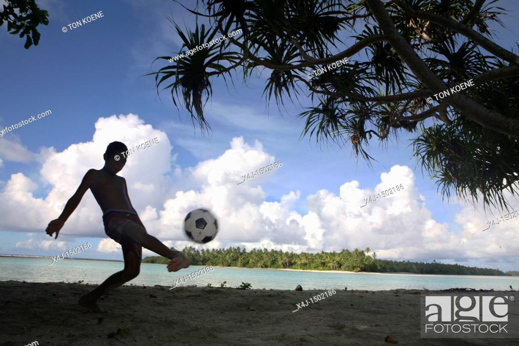 Stock Photo: Boy on Tuvalu, island in the Pacific.