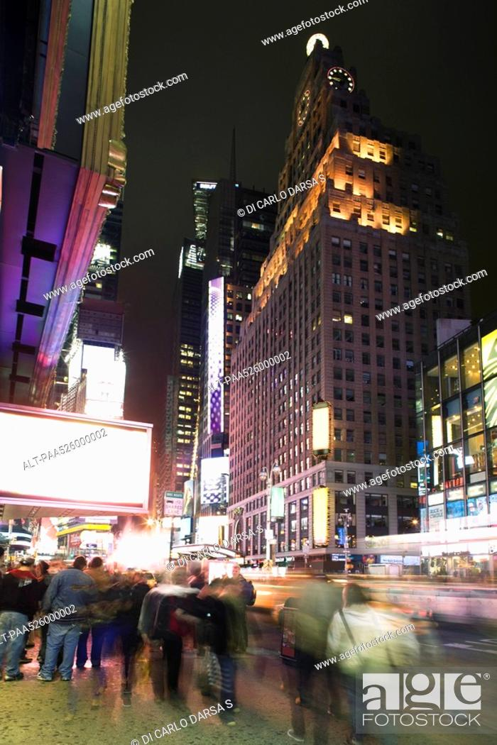 Stock Photo: Nightlife scene on Broadway near Times Square in New York City.