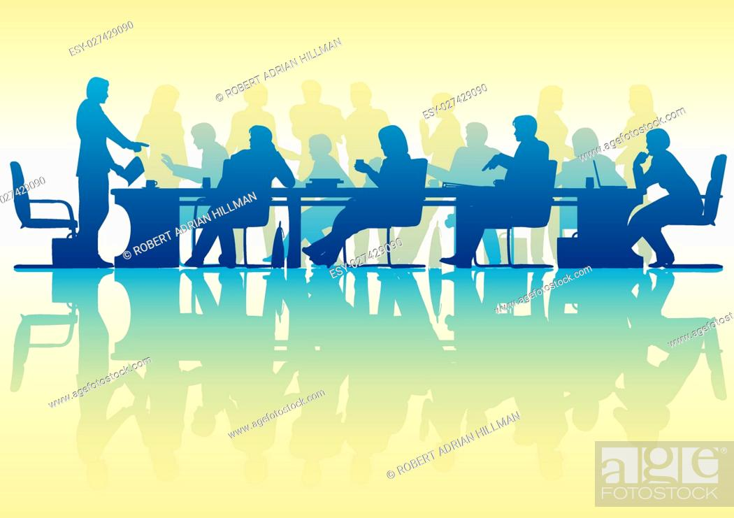 Stock Vector: Editable vector silhouette of people in a meeting with reflection.