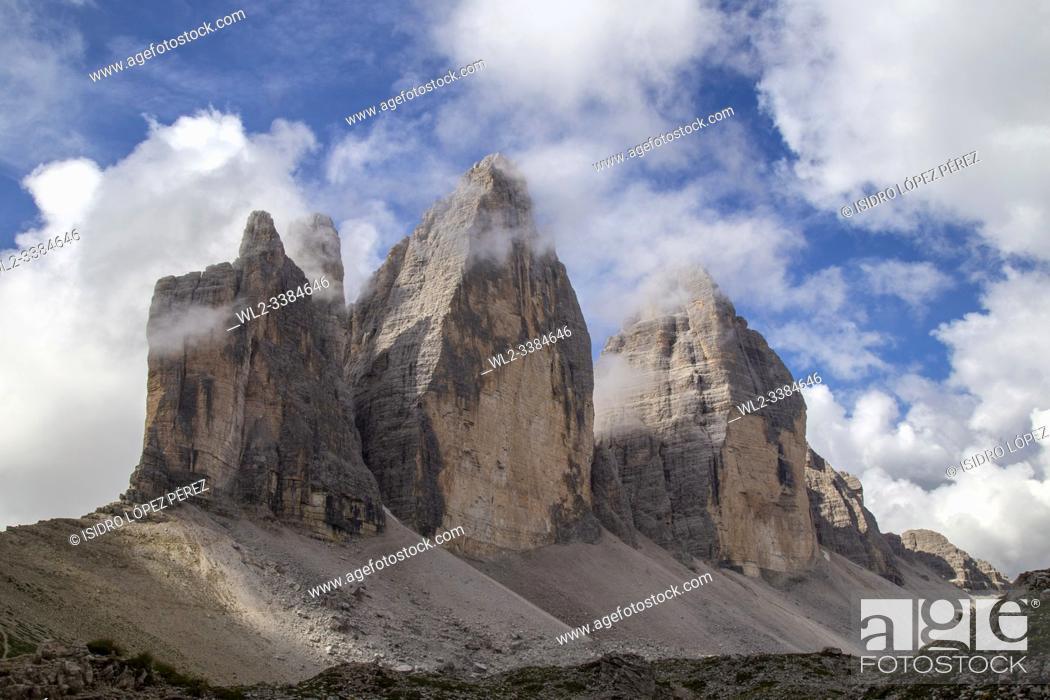 Stock Photo: The Three Summits of Lavaredo, are three distinctive peaks in the form of battlements located in the Italian regions of Trentino-Alto Adige and Veneto.