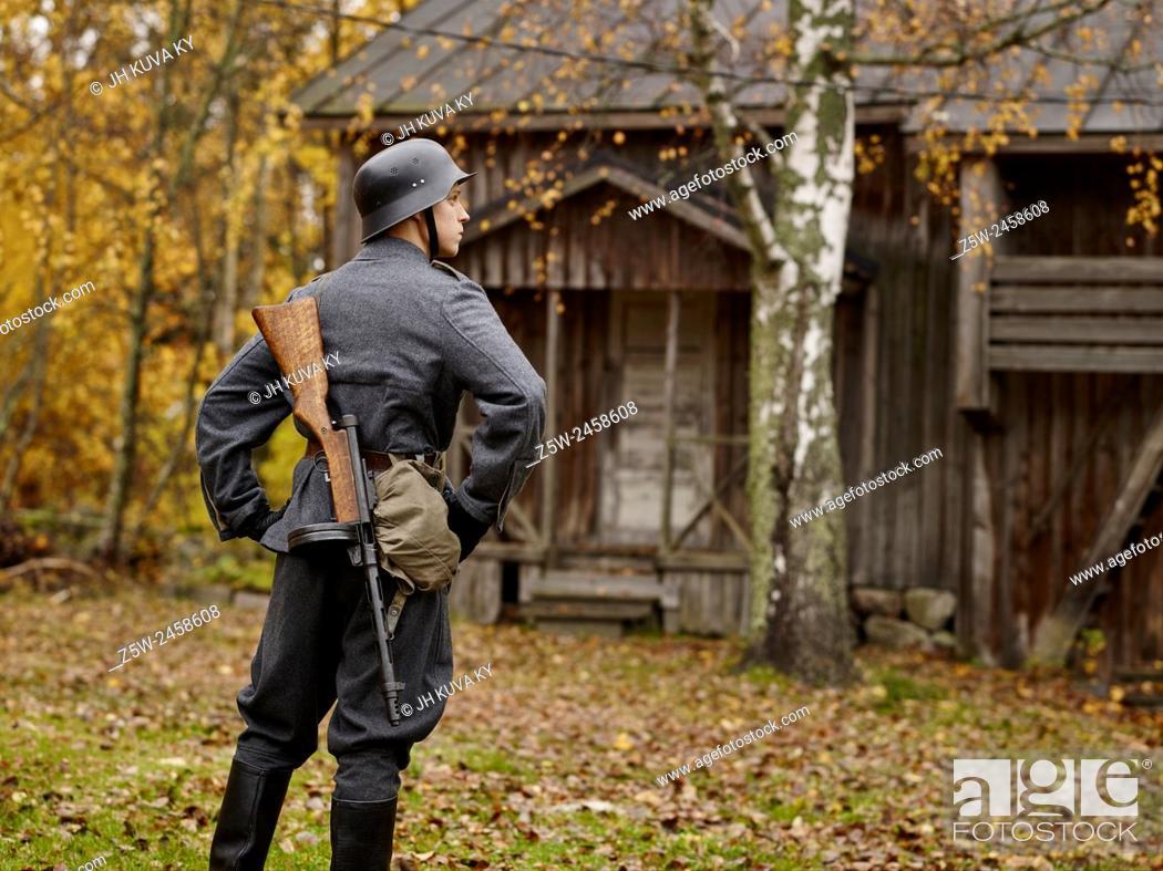 Historic costume theme World War II, Finnish soldier and