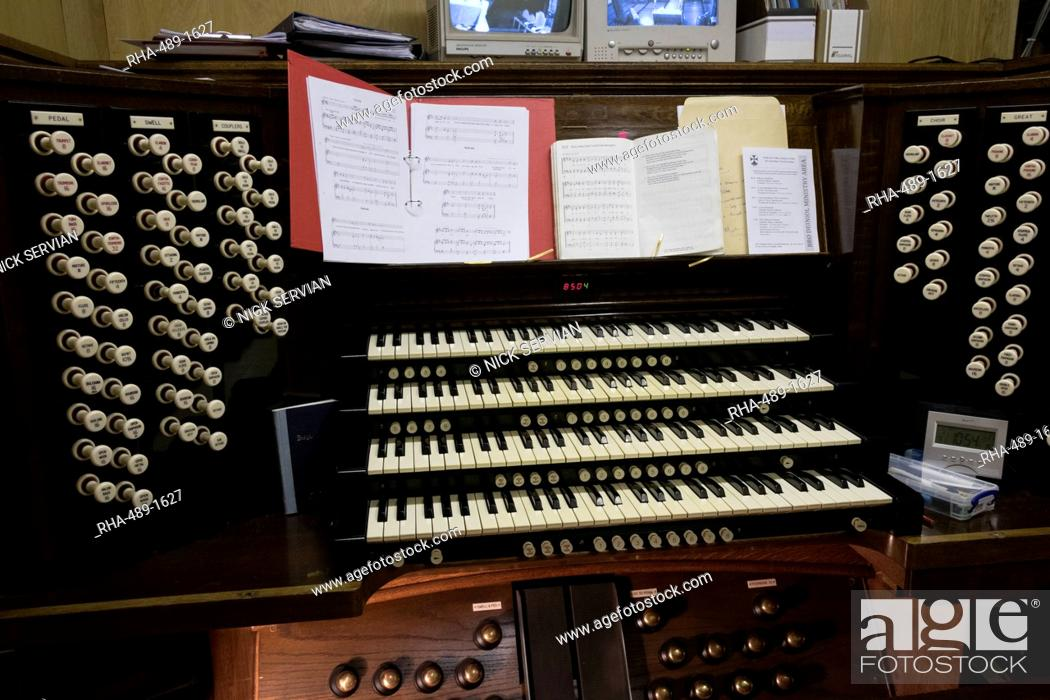 Stock Photo: The organ console, Bangor Cathedral, Wales, United Kingdom, Europe.