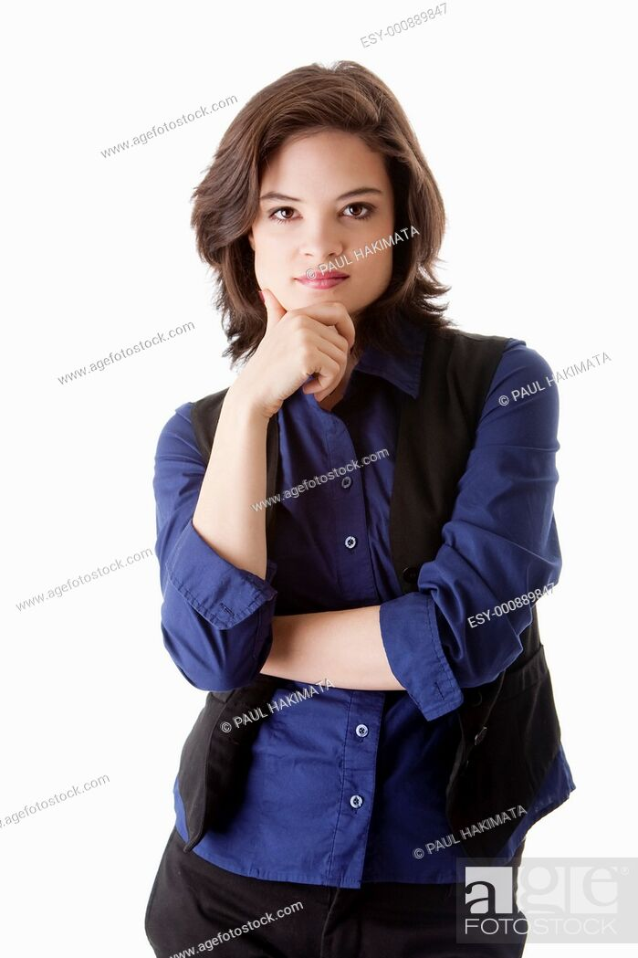 Stock Photo: Beautiful young caucasian brunette business student woman arm crossed and hand on chin, wearing blue blouse and black jacket, isolated.