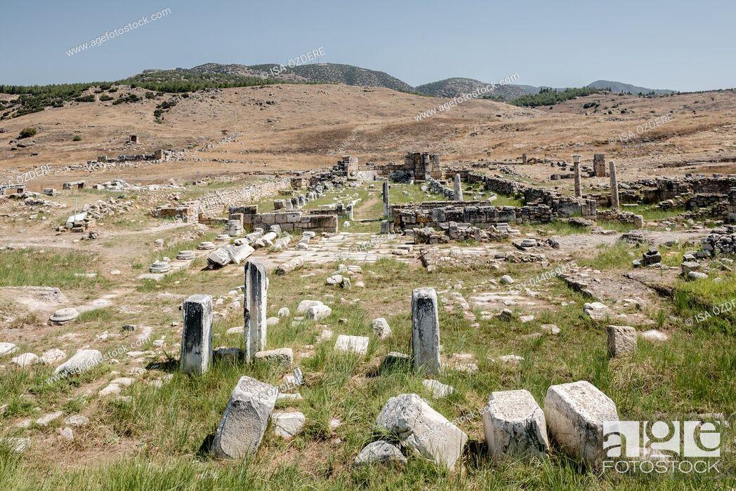 Stock Photo: Ancient ruins in Hierapolis, Pamukkale, Turkey. UNESCO World Heritage.