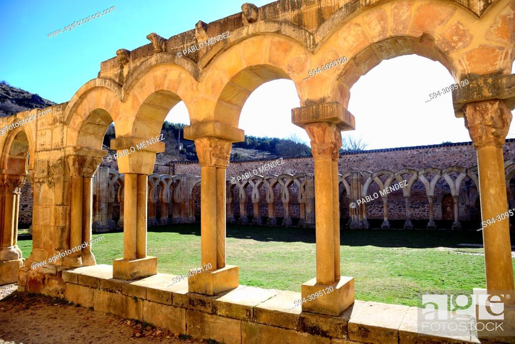Stock Photo: Cloisters of San Juan de Duero in Soria city, Spain.