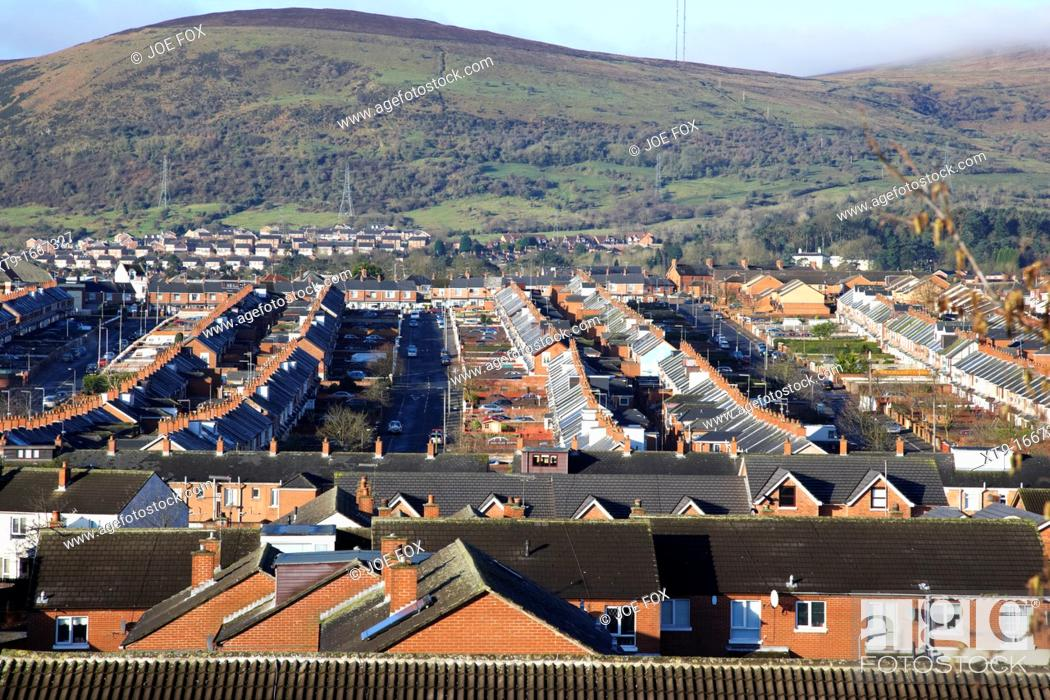 Stock Photo: View over the Catholic enclave Ardoyne area of North Belfast Belfast Northern Ireland UK.