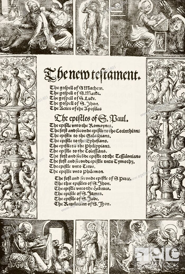 Stock Photo: Title page of William Tyndale's New Testament printed 1530's. From The National and Domestic History of England by William Aubrey published London circa 1890.