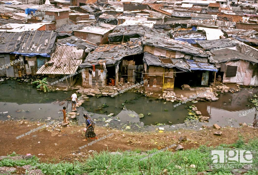 Stock Photo: Unhygienic conditions in a slum in Mumbai Bombay , Maharashtra , India.