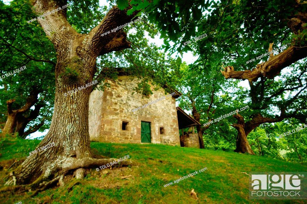 Stock Photo: Ermita de Santa Engracia, Elizondo, GR11 long distance footpath Baztan Navarra Pyrenees Mountains Spain.