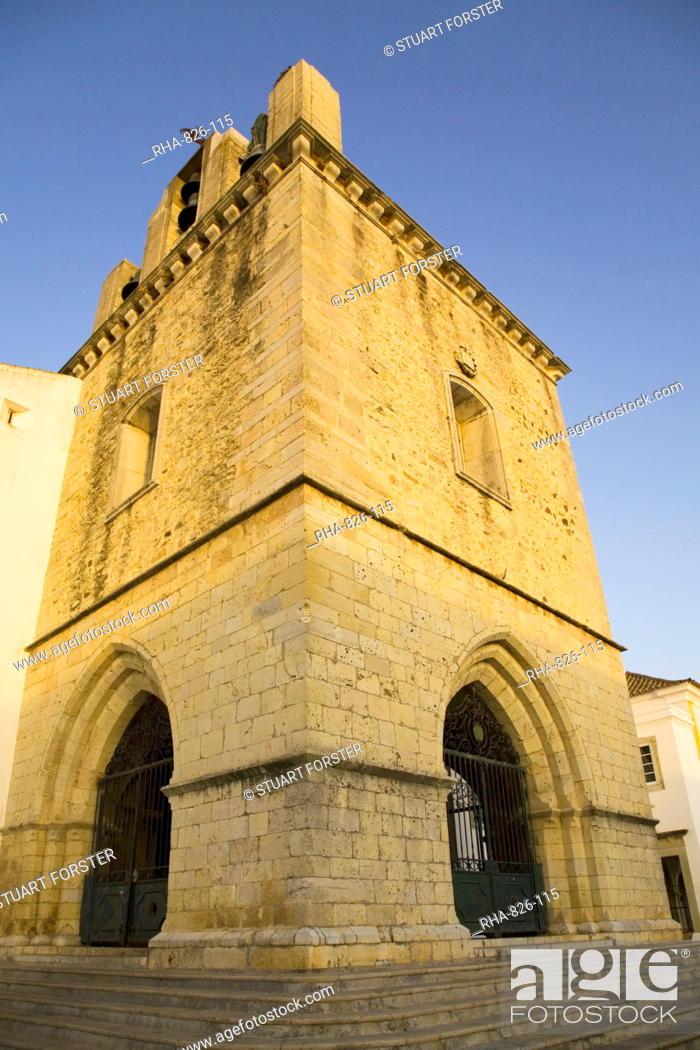 Stock Photo: The fortress like stone tower of medieval Faro Cathedral Largo da Se in Faro, Algarve, Portugal, Europe.