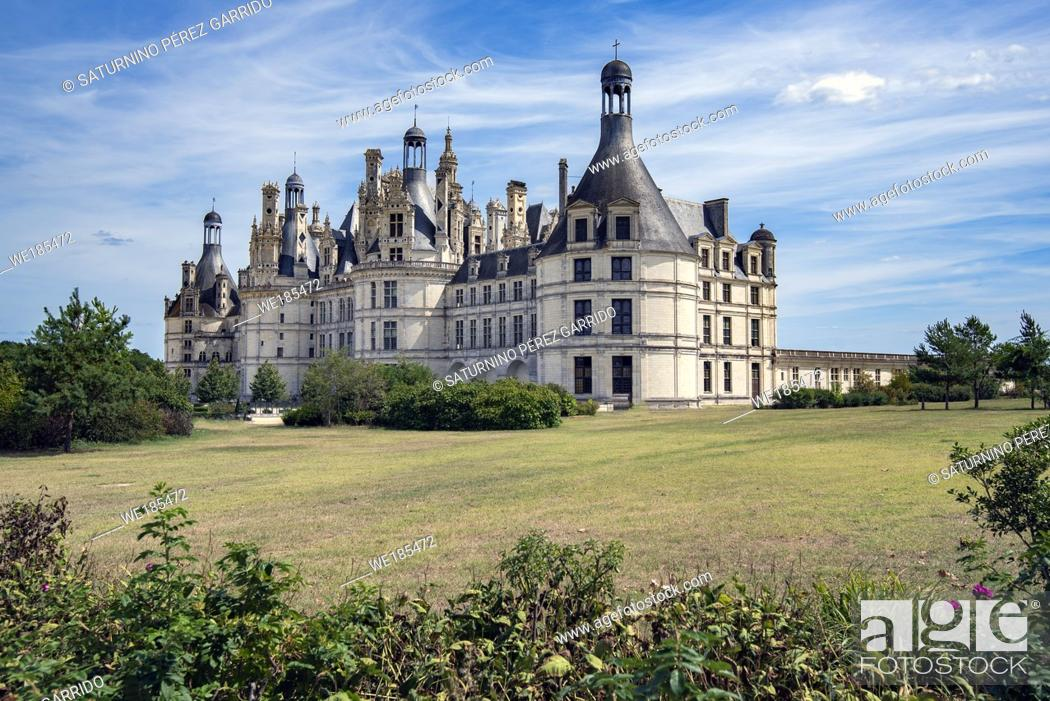 Stock Photo: Front and side face of Chambord Castle in France.