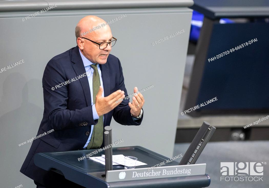 Stock Photo: 03 July 2020, Berlin: Alexander Throm (CDU) speaks in the plenary session of the German Bundestag. The main topics of the 171st session of the 19th legislative.