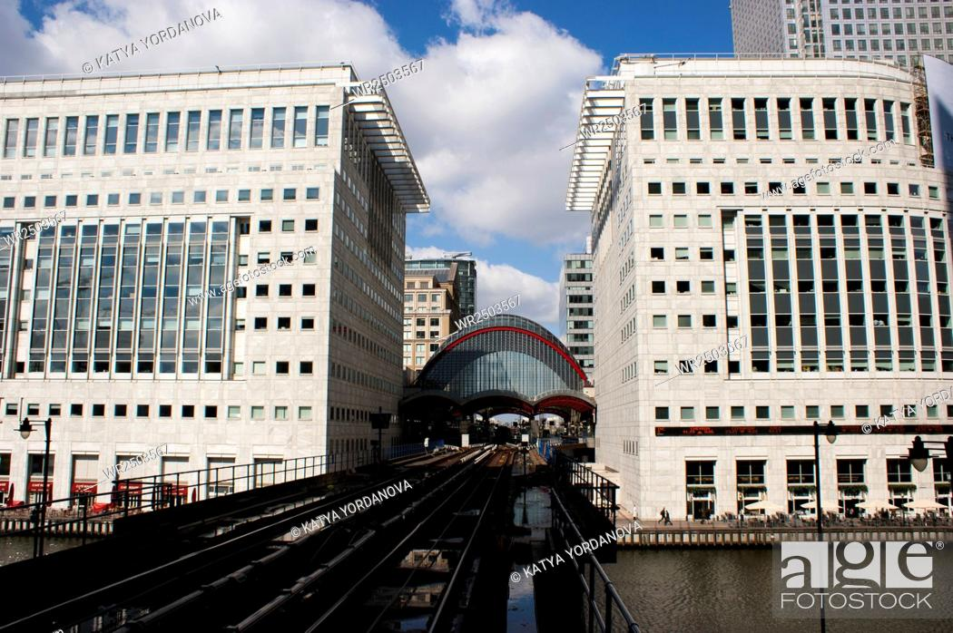 Stock Photo: Canary Wharf docklands station in London, UK.